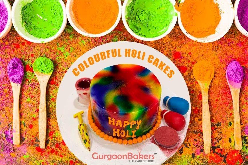 colourful holi cakes