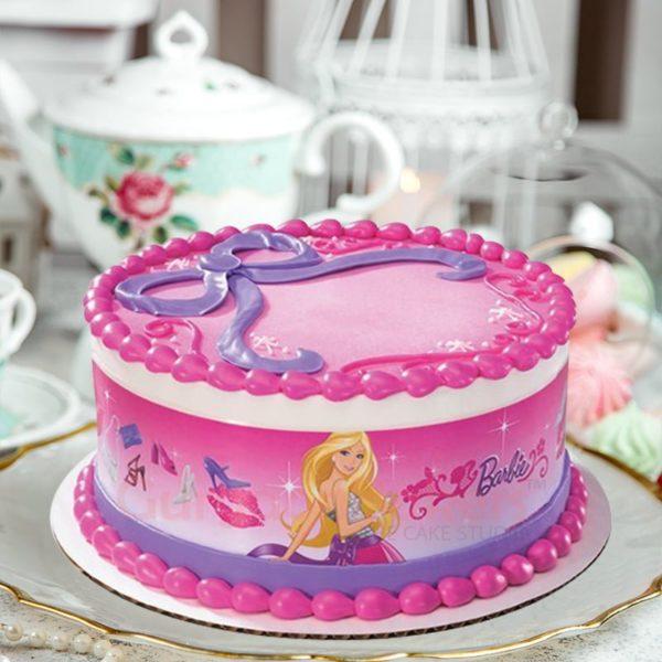 pink purple barbie cake