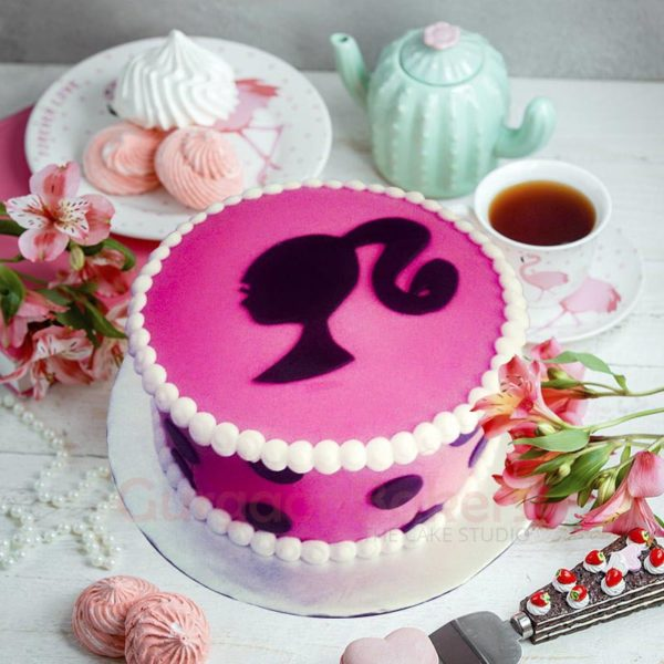 polka dot barbie cake