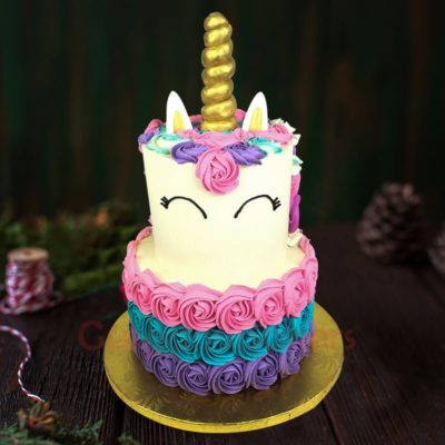 2 tiered unicorn rosette cake