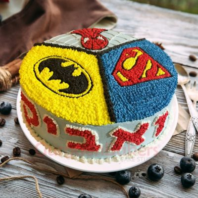 3 in 1 superhero cake