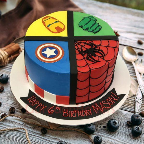 4 in 1 superhero cake