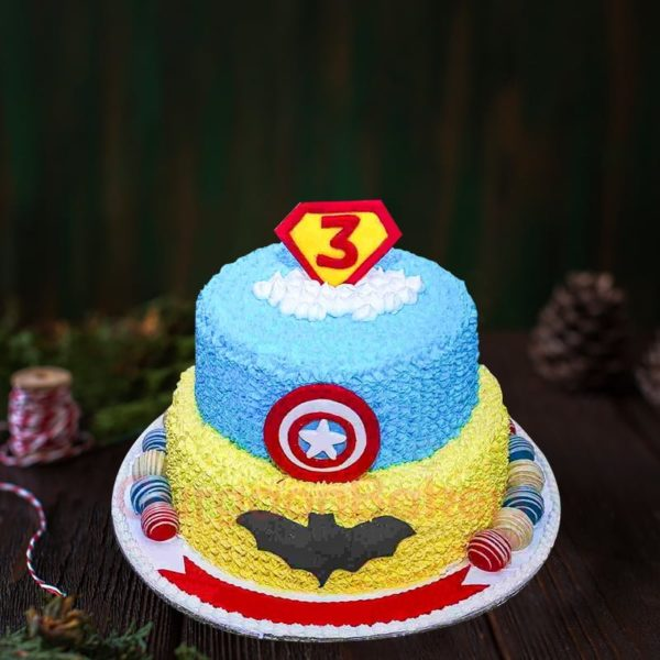 batman vs captain america cake