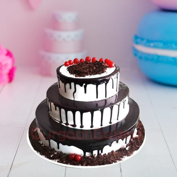 chocolate lovers paradise three tier wedding cake