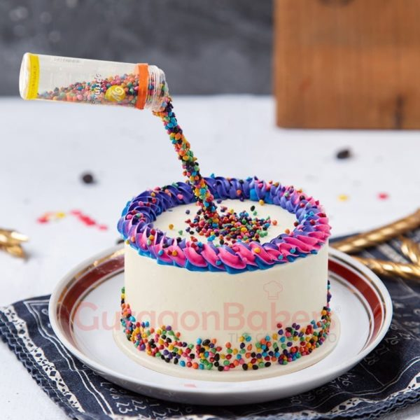 colorful birthday anti gravity cake