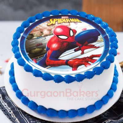 crawling spiderman cake