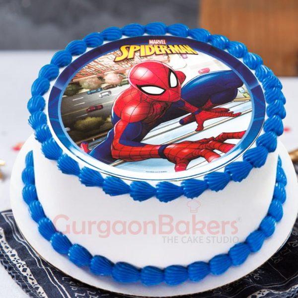 crawling spiderman cake