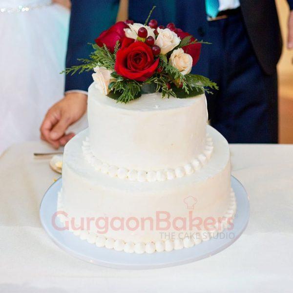 dainty ombre blossom wedding cake