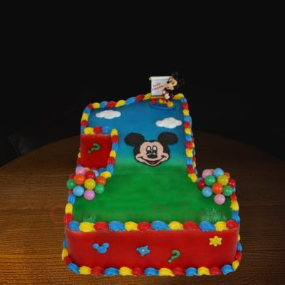 digit 1 mickey mouse cake