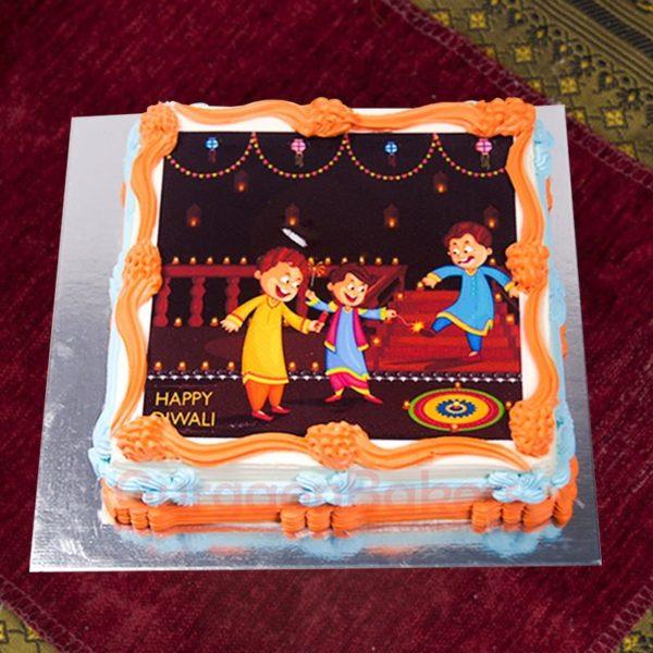 diwali themed photo cake