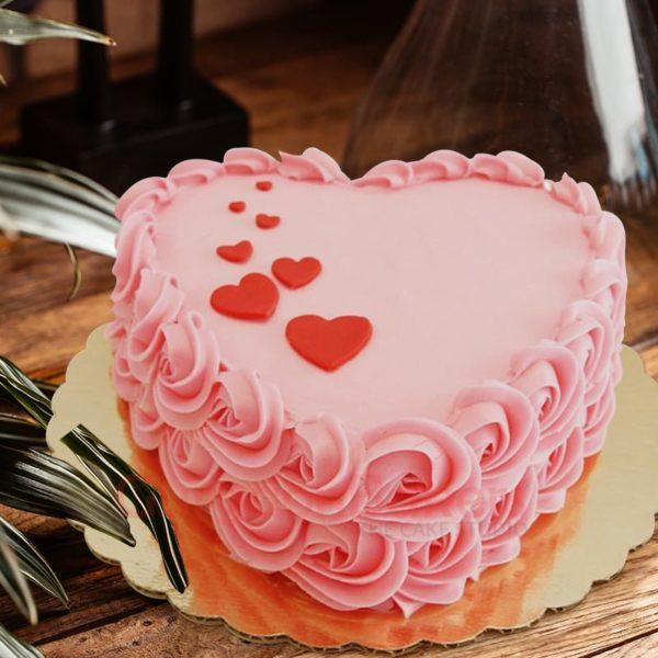 elegant baby pink heart cake