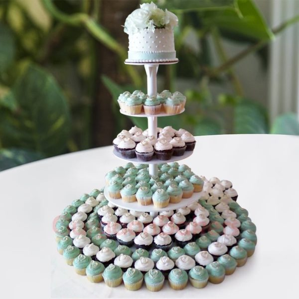 white elegant wedding cupcakes tower
