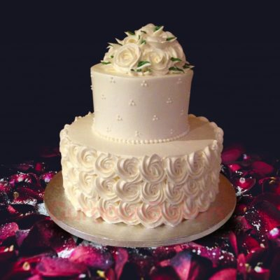 wedding cake with flowers cascading