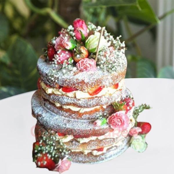 frost free berry blossom two tier wedding cake