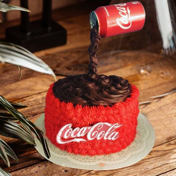 gravity defying coke splash cake