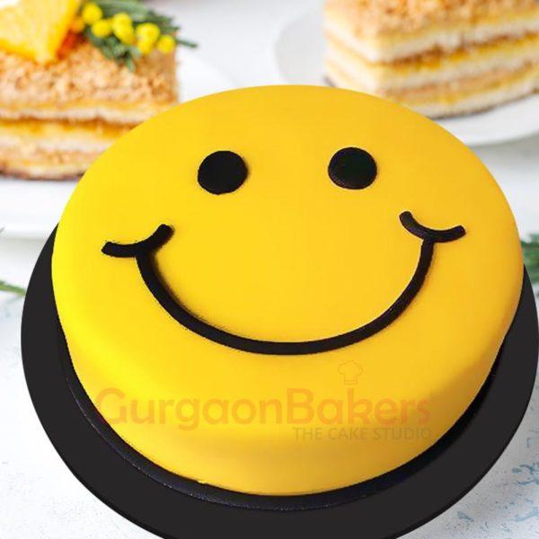 grinning face cake