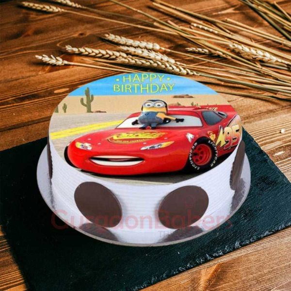 minion and cars crossover cake
