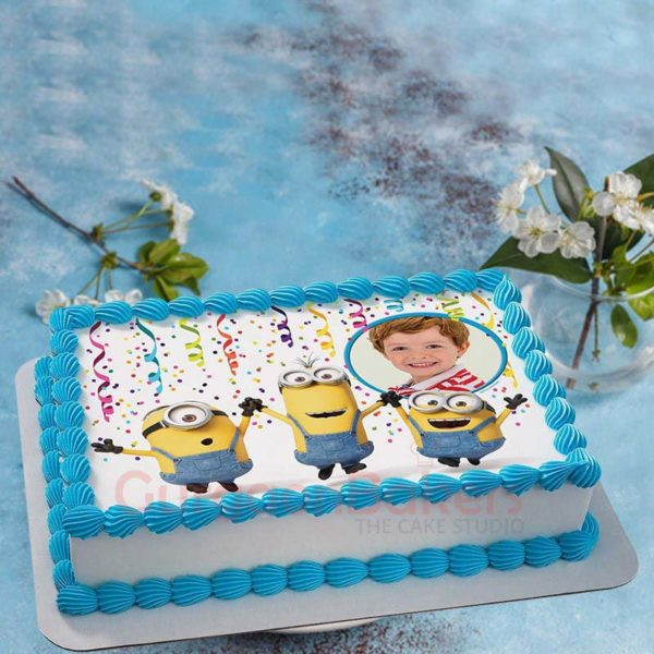 minion party cake with your childs photo