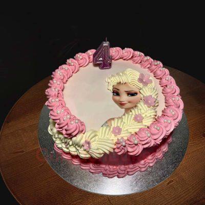 pretty in pink elsa cake