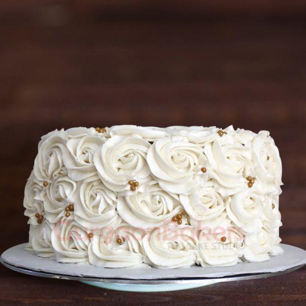 sober white anniversary cake