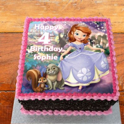 sofia and woodland friends cake