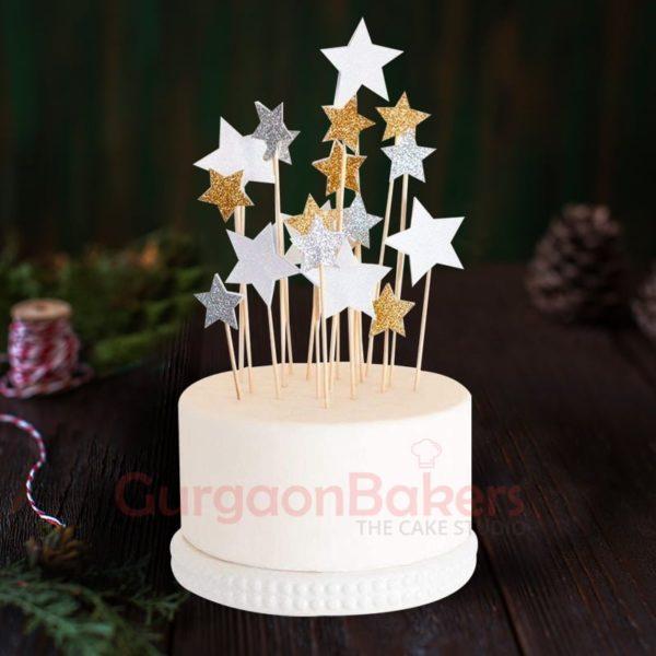 stars anniversary cake with crumb