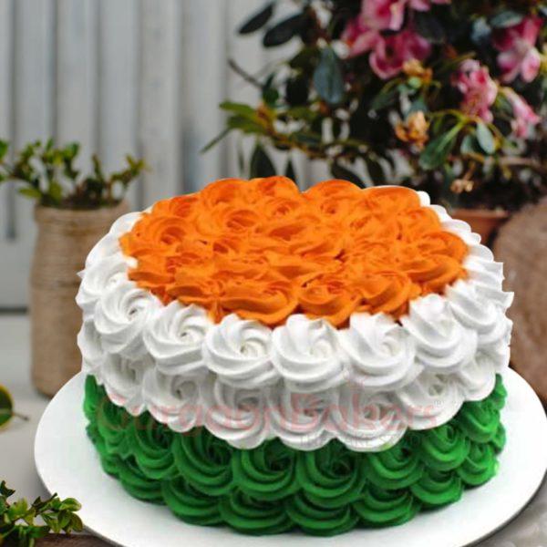 swirly indian flag cake