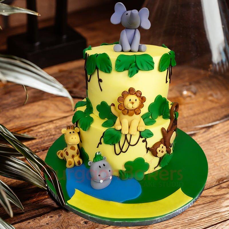 tropical jungle 2 tier cake