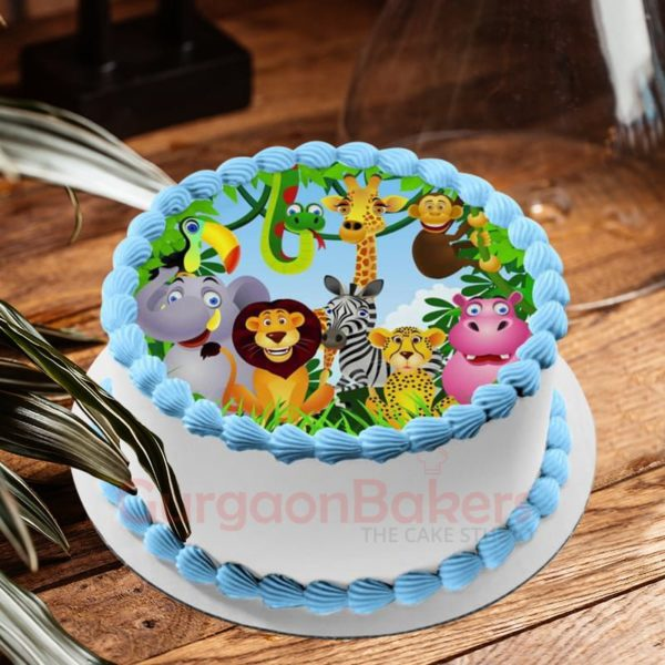 tropical jungle photo cake