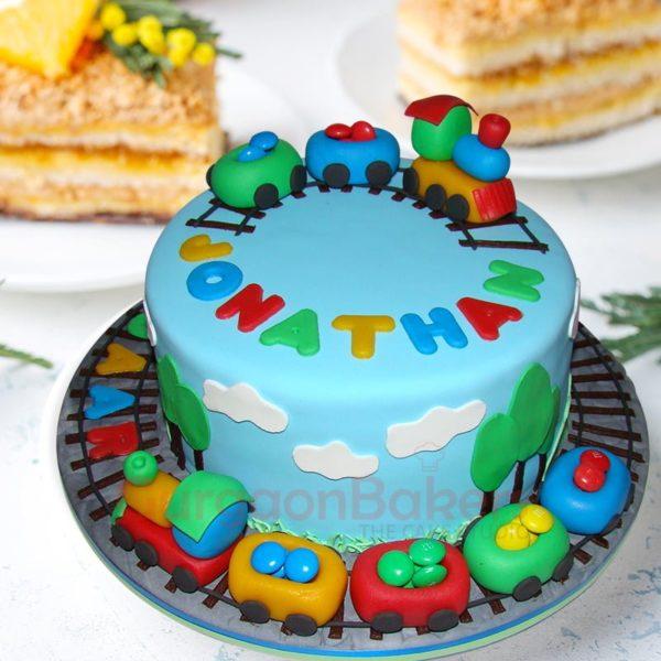 zoo train birthday cake