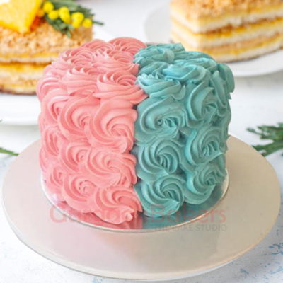 charming pink and blue gender reveal cake