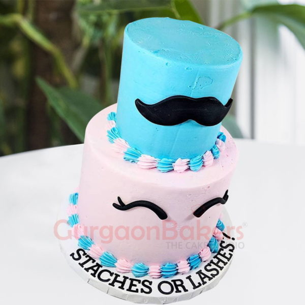 moustaches or lashes cake