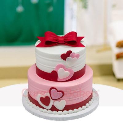 two tier ribbon cake