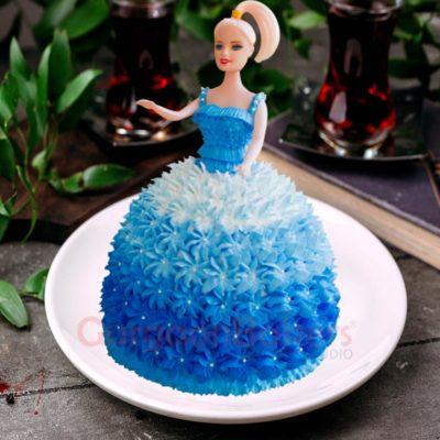 Blue Princess Barbie Cake