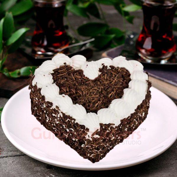cute black forest heart cake