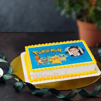 Pokemon with Birthday Boy Girl Photo Cake