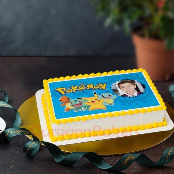Pokemon with Birthday Boy Girl Photo Cake