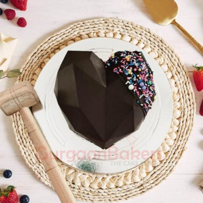 Chocolate heart Pinata Cake