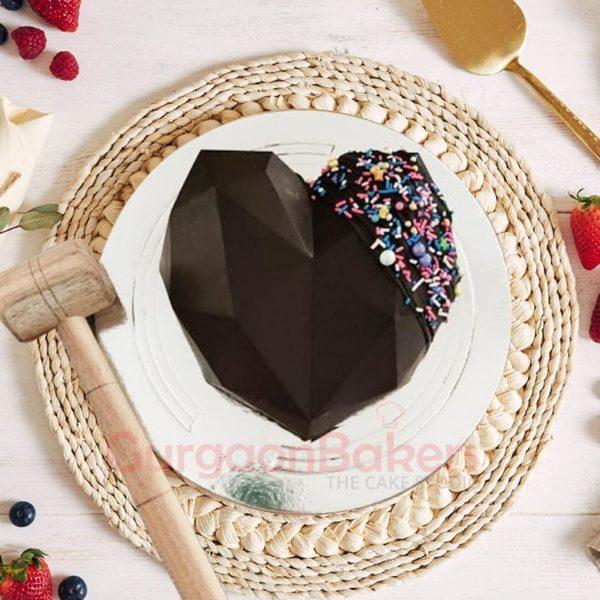 Chocolate heart Pinata Cake