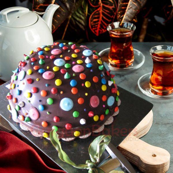 Colourful Chocolate Dome Pinata Cake