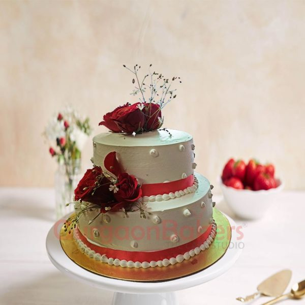 Red and White Pearl Cake