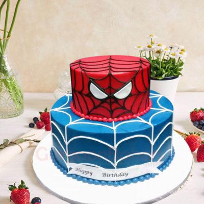 2-Tiered Spiderman Birthday Cake