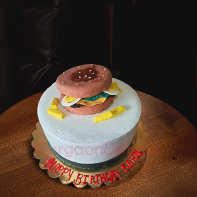 Burger and Fries Cake Side view