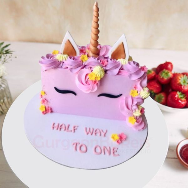 Cute Unicorn Half Birthday Cake