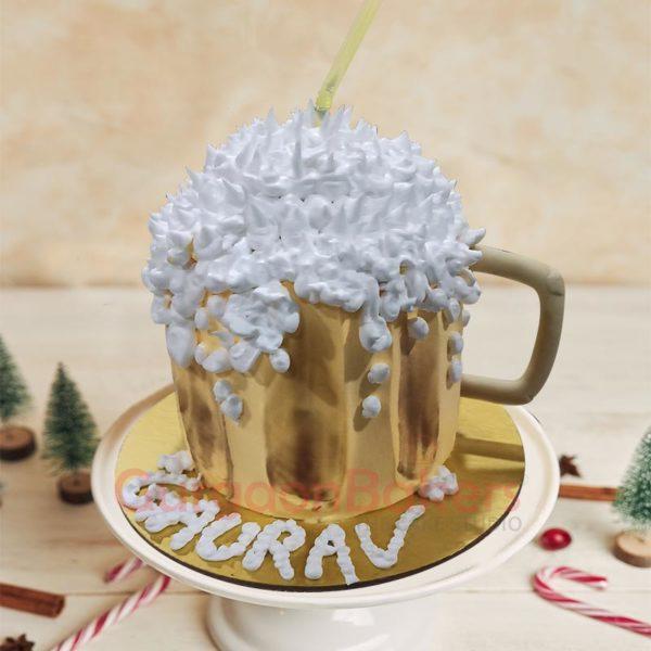 Foaming Beer Mug Cake Side View