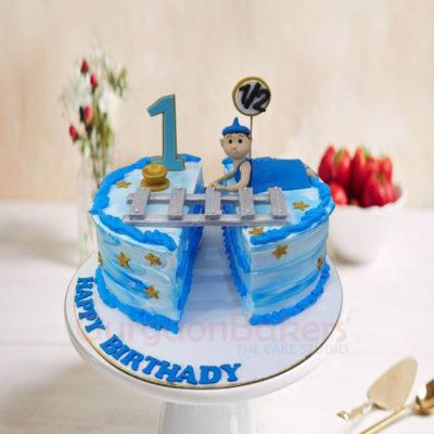 Handsome Blue Half Birthday Cake