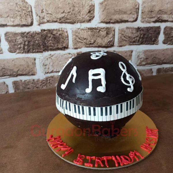 Musical Notes Pinata Cake Side View