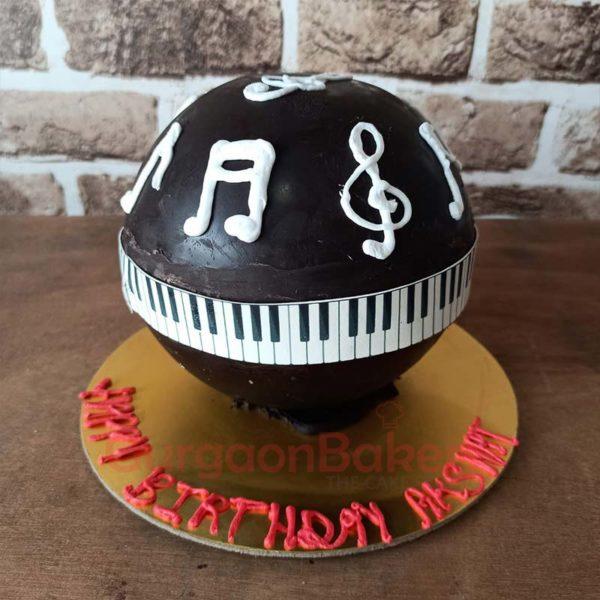 Musical Notes Pinata Cake Front View