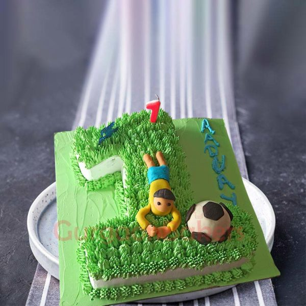 Number One Football Cake Top View