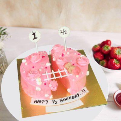 Pink Sweetheart Half Birthday Cake